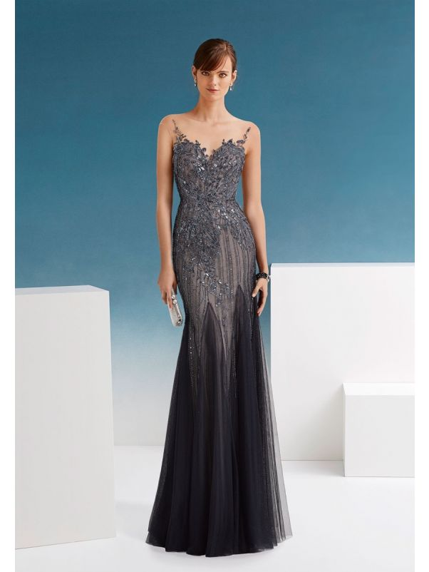 Embellished Tulle Gown With Sheer Back
