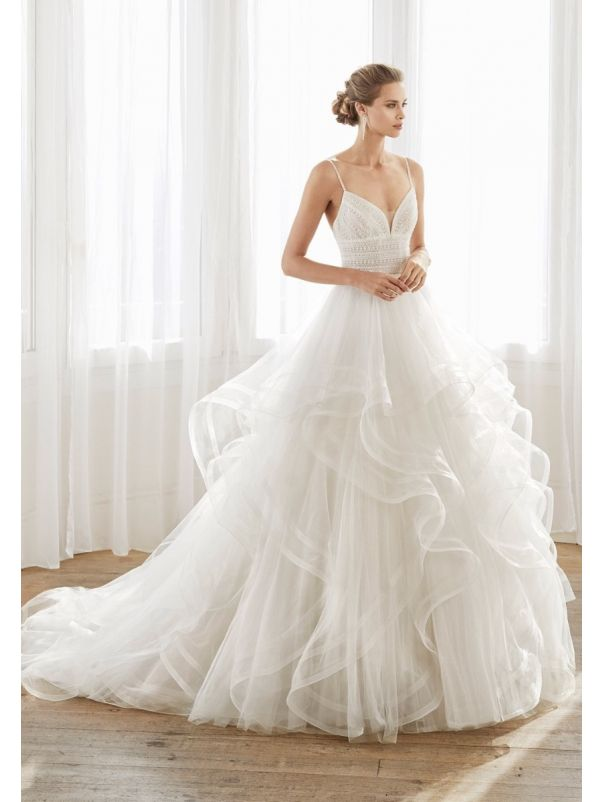 Beaded Ruffle Ball Gown with Straps
