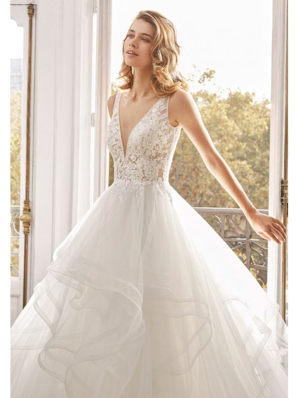 Embroidered Ruffle Tulle Ball Gown