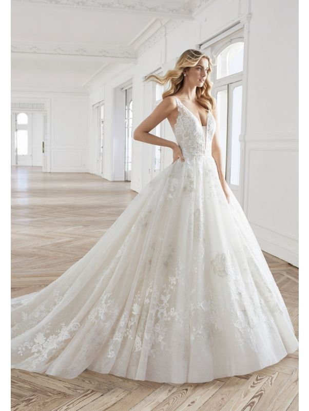 Embroidered Lace Ball Gown