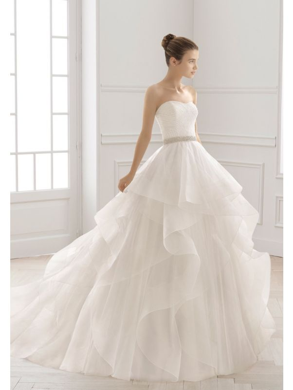 Beaded Ruffle Tulle Ball Gown
