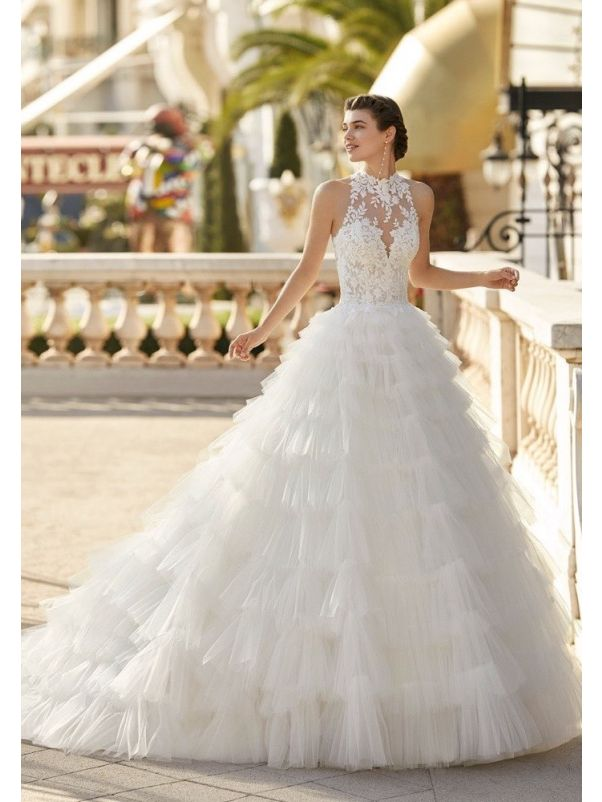Ruffle Wedding Dress With Keyhole Back