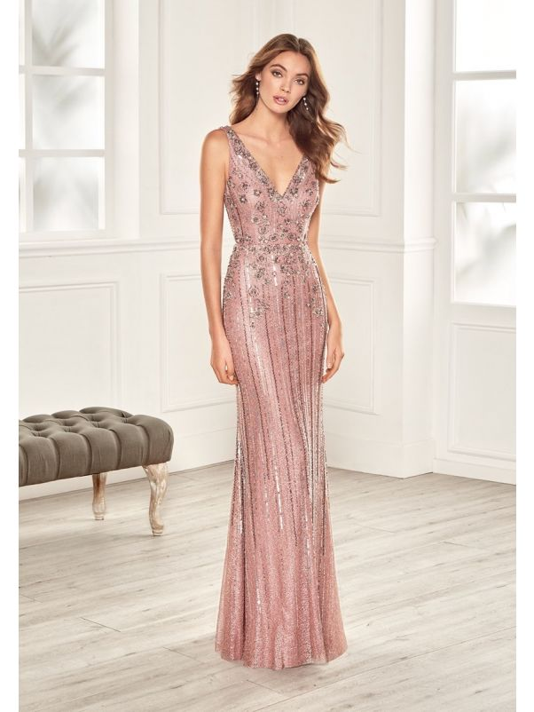 Beaded Tulle Evening Gown With Plunging Back