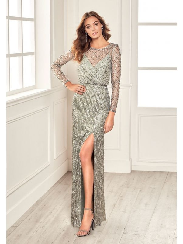 Beaded Long Sleeves Slit Gown
