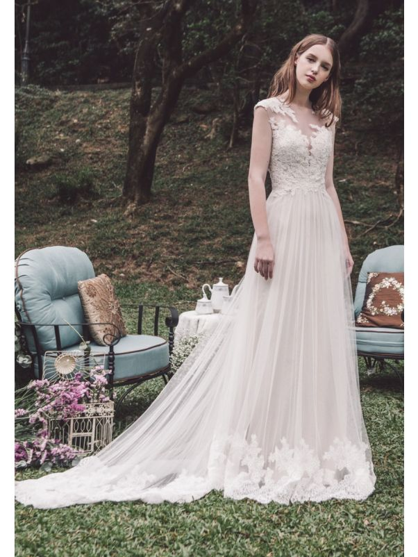 Embroidered Flowing Tulle Wedding Dress