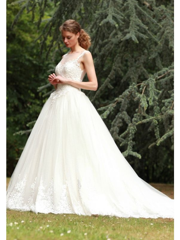 Embroidered Tulle Ball Gown With Sheer Back