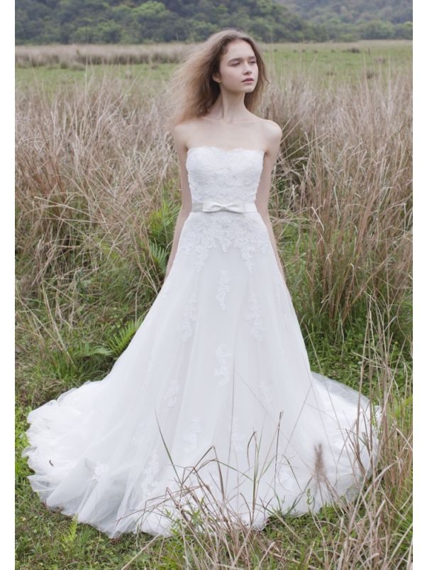 Embroidered Soft Tulle Wedding Dress