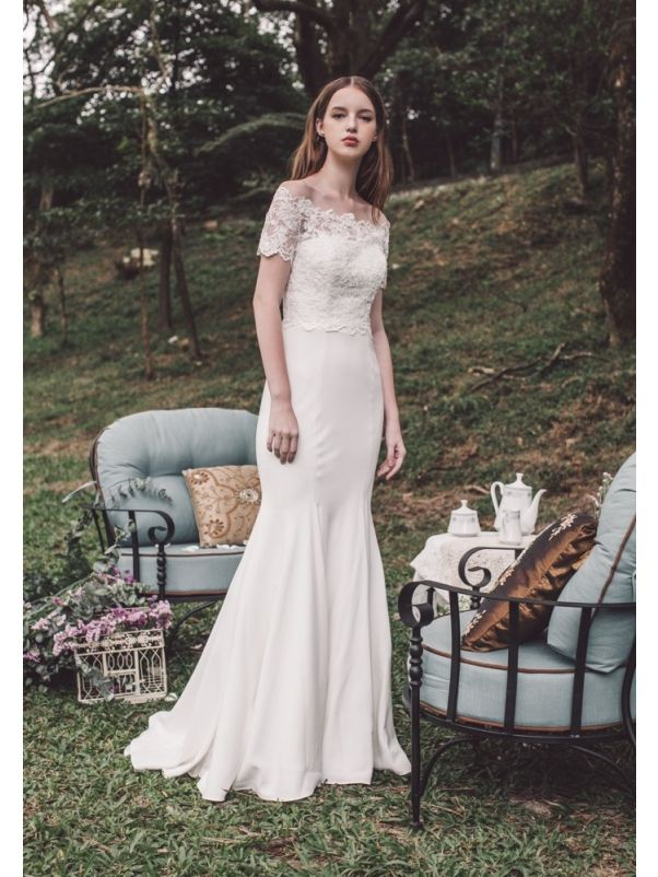 Crepe Wedding Dress With Short Sleeves