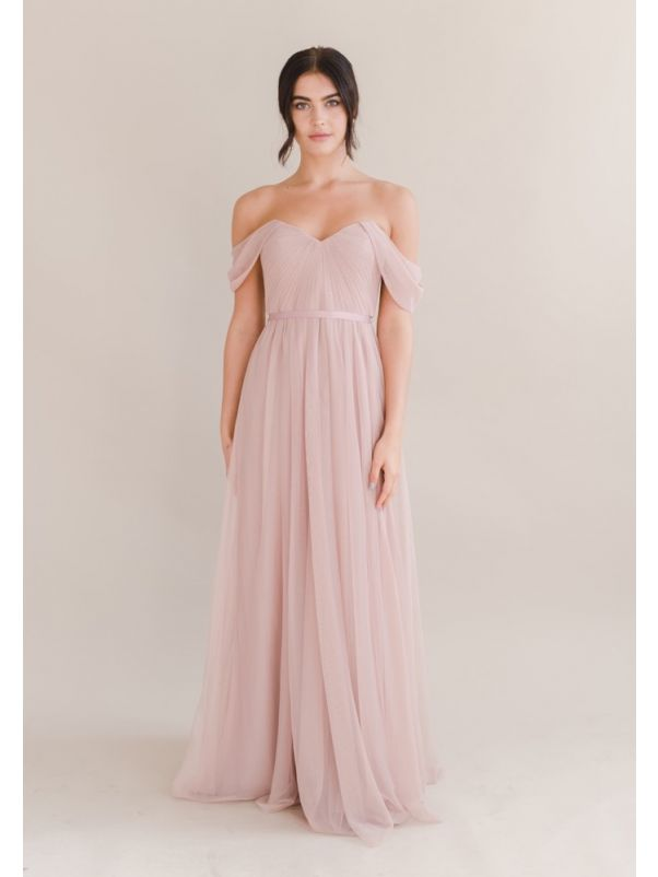 Draped Soft Tulle Bridesmaid Dress