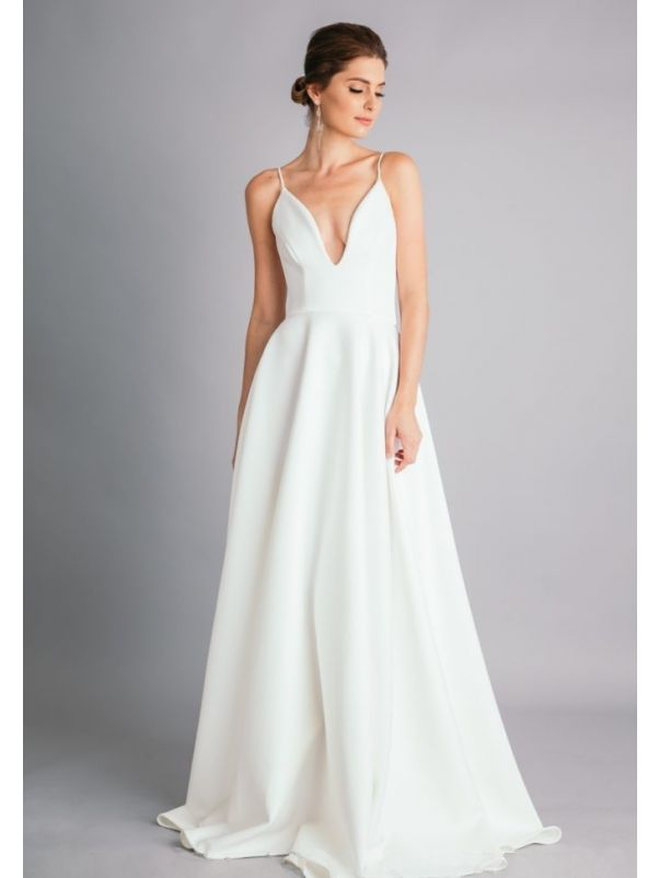 White Bridesmaid Dress With Thin Straps