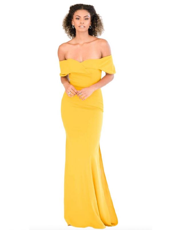 Yellow Stretch Crepe Bridesmaid Dress