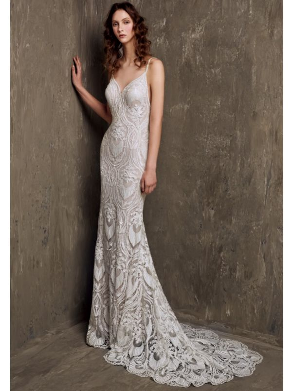 Embroidered Wedding Dress With Low Back