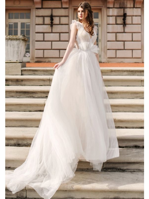 Beaded Soft Tulle Wedding Dress