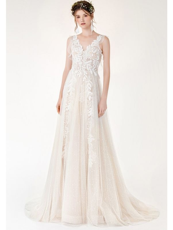 Floral Lace Glitter Tulle Wedding Dress
