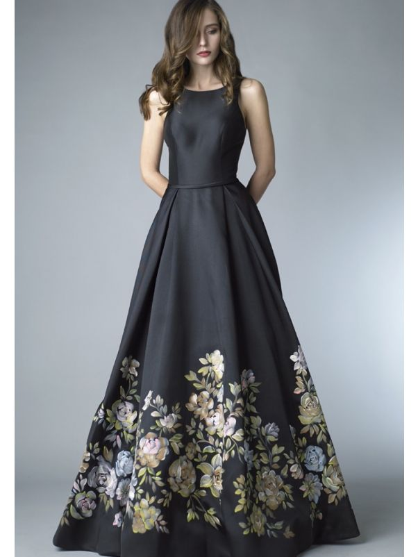 Floral Blossom Ball Gown With Side Pockets
