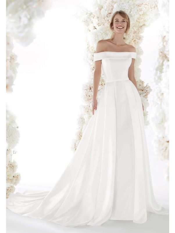Off-Shoulder Mikado A-Line Wedding Dress