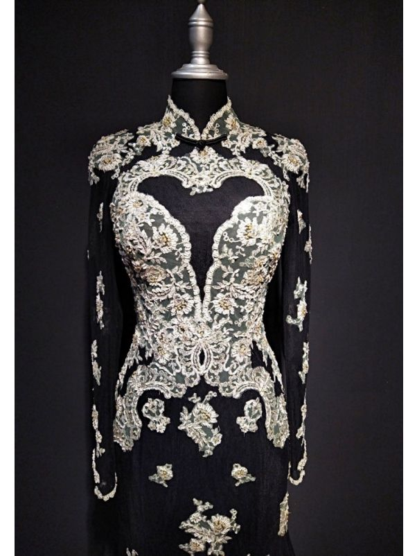 Embroidered Long Sleeves Cheongsam