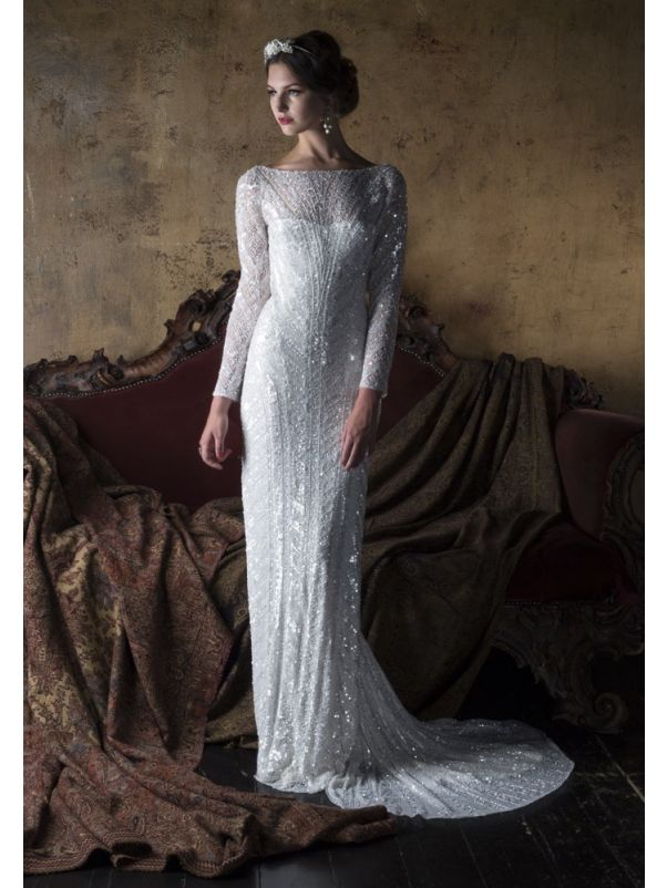 Heavily Beaded Long Sleeves Gown