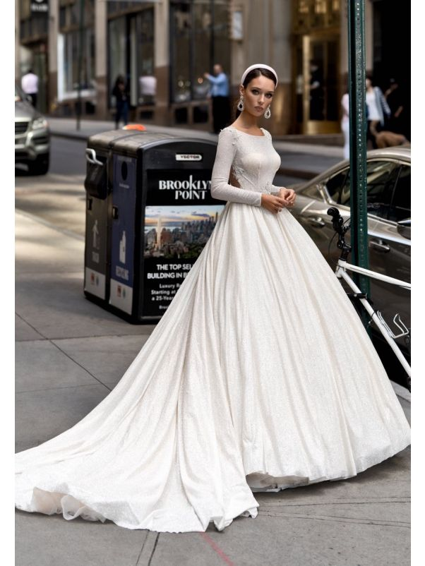 Embellished Long Sleeves Ball Gown