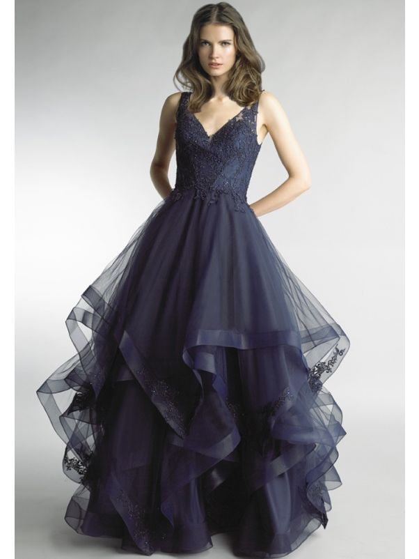 Embroidered Ruffle Evening Dress