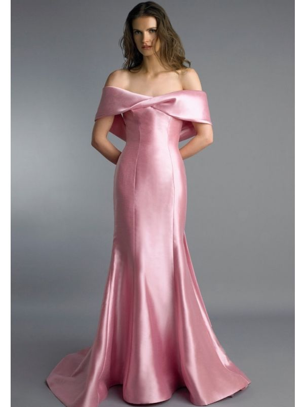 Pink Satin Evening Gown With Low Back