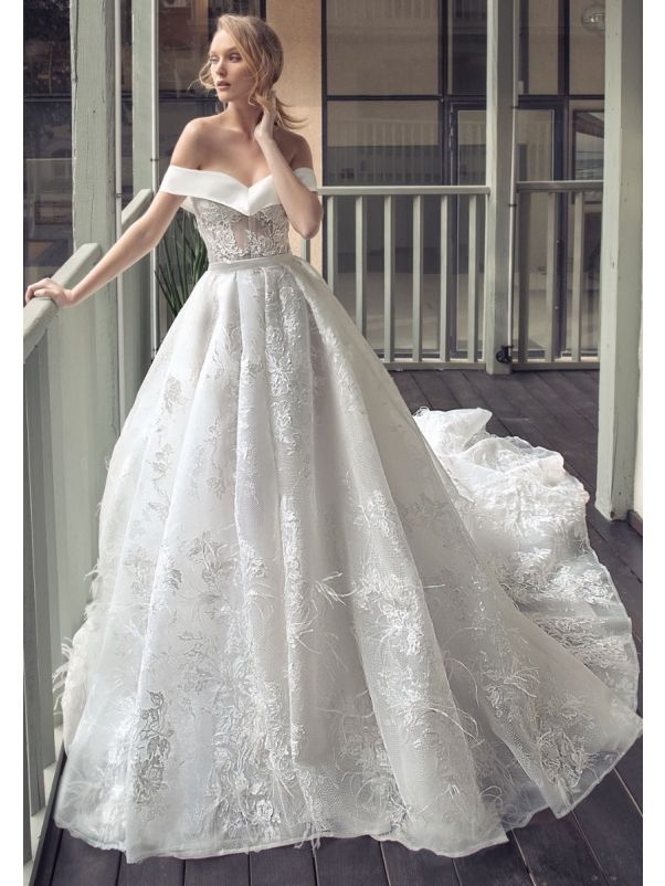Off-Shoulder Lace Ball Gown