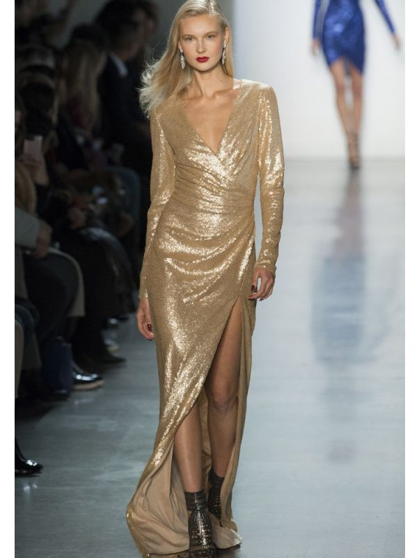 Gold Sequined Slit Gown
