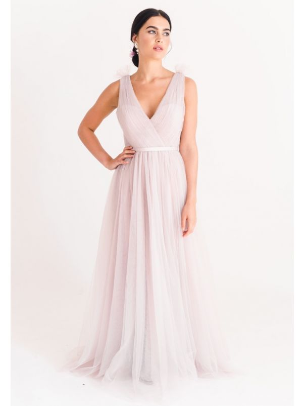 Pleated Tulle Bridesmaid Dress