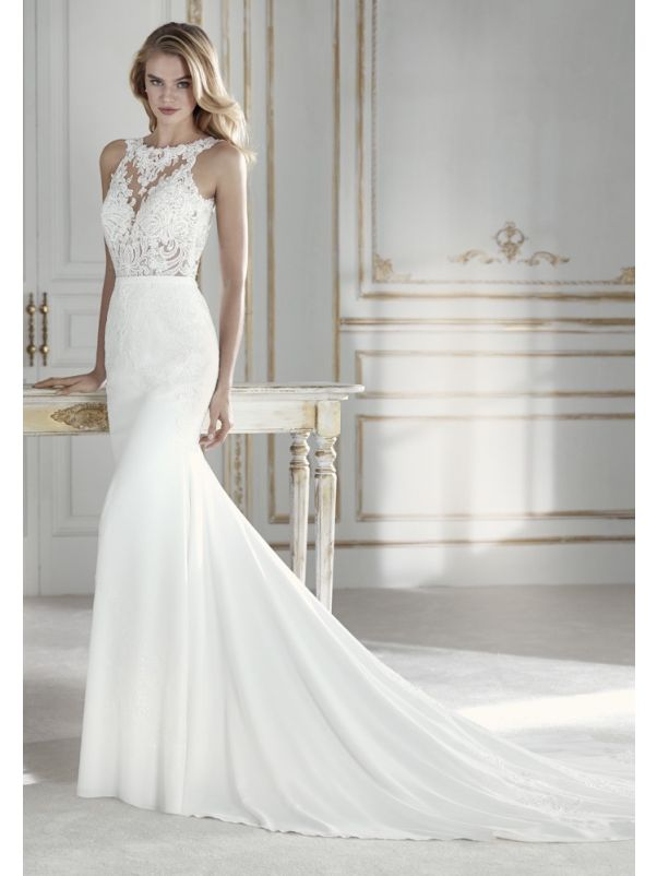 Beaded Crepe Gown With Open Back
