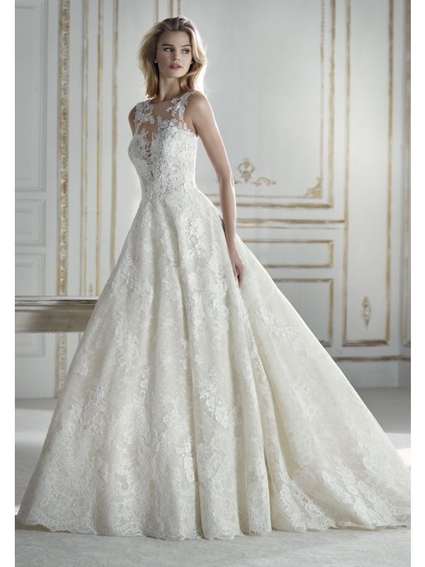 Lace Ball Gown With Sheer Back