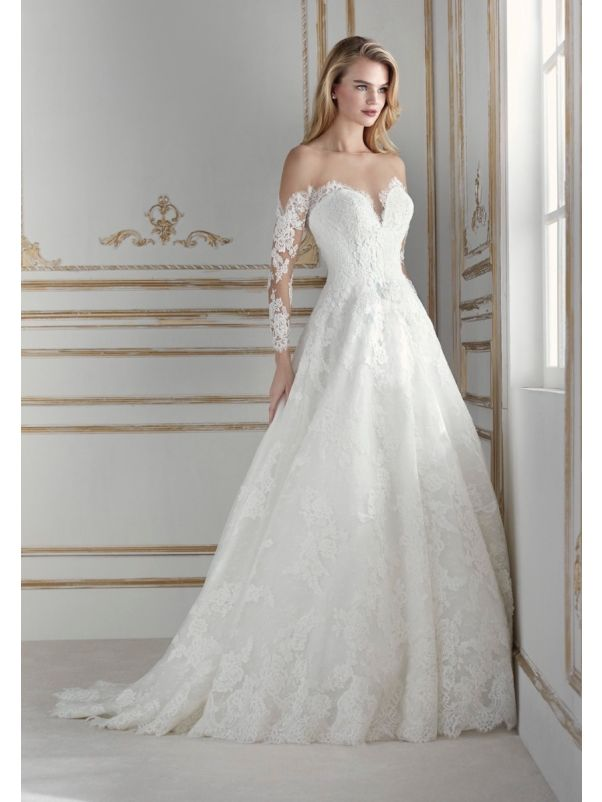 Long Sleeves Lace Ball Gown