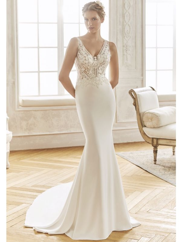 Embroidered Crepe Wedding dress
