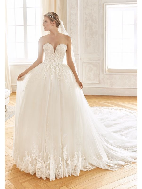 Embroidered Princess Ball Gown with Long Train