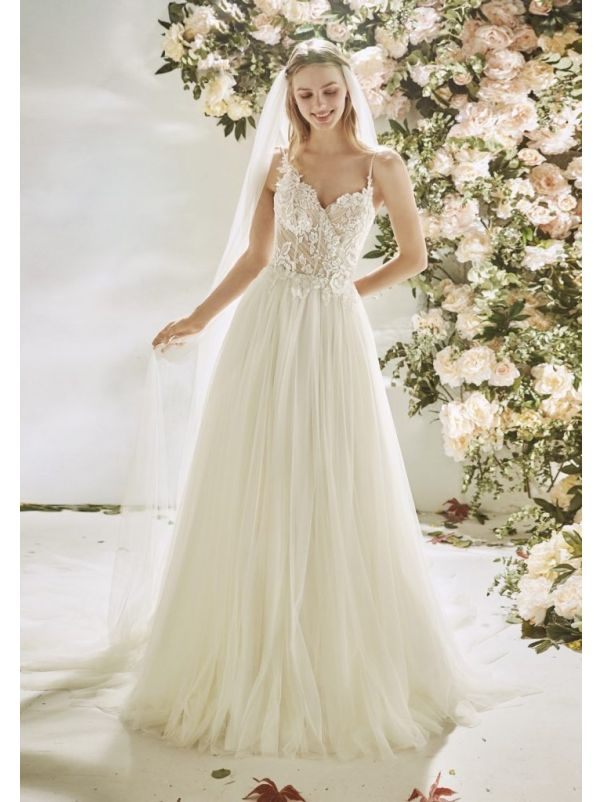 Beaded Tulle Wedding Dress With Thin Straps