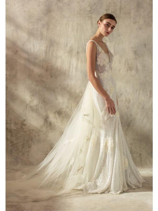 Floral Blossom Sequined Wedding Dress