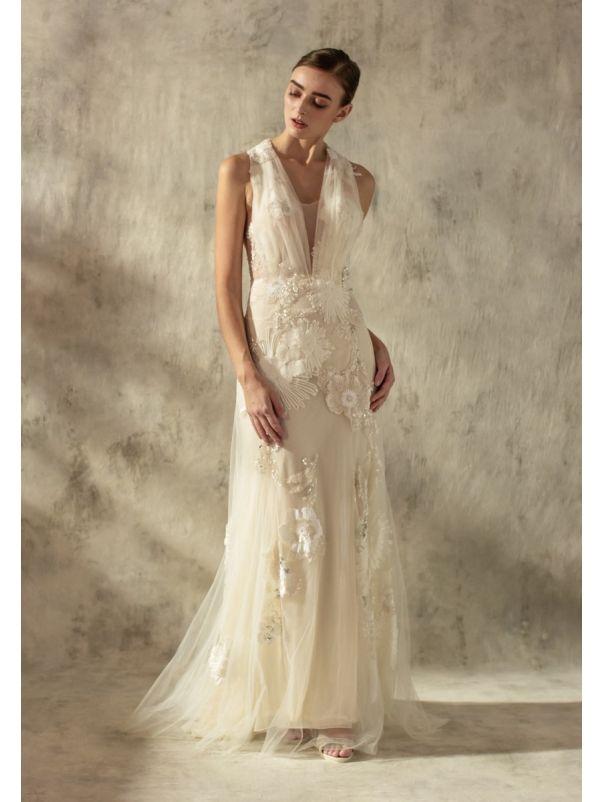 Floral Blossom Tulle Wedding Dress