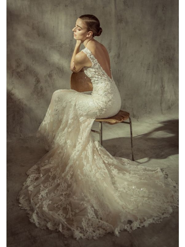Embroidered Wedding Dress With Open Back