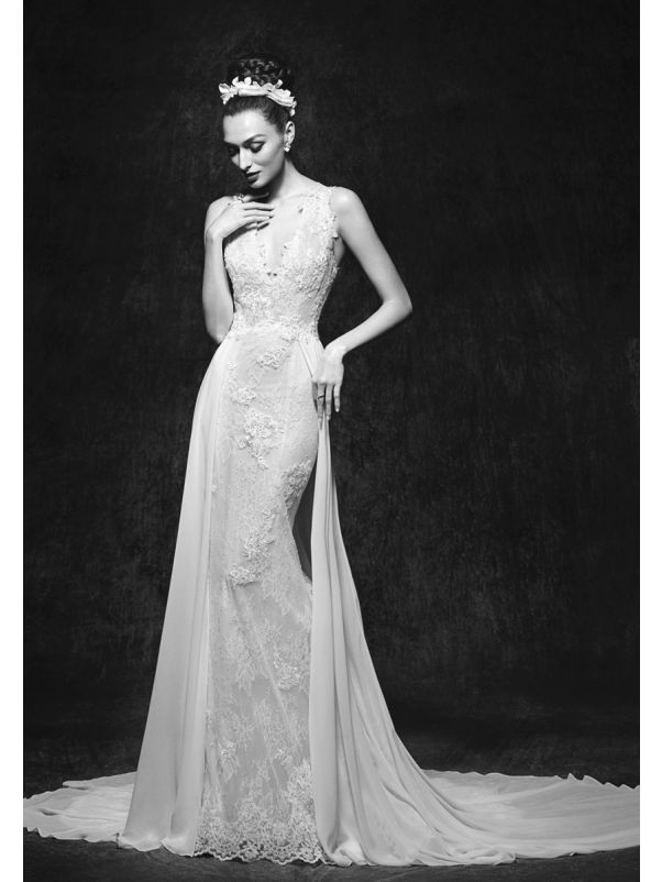 Lace Wedding Dress With Chiffon Overlay
