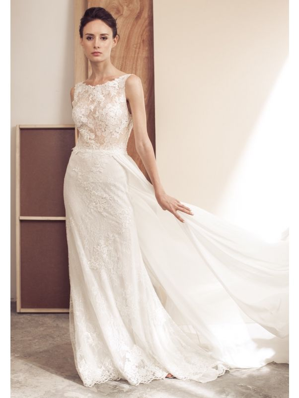 Embroidered Wedding Dress With Chiffon Overlay