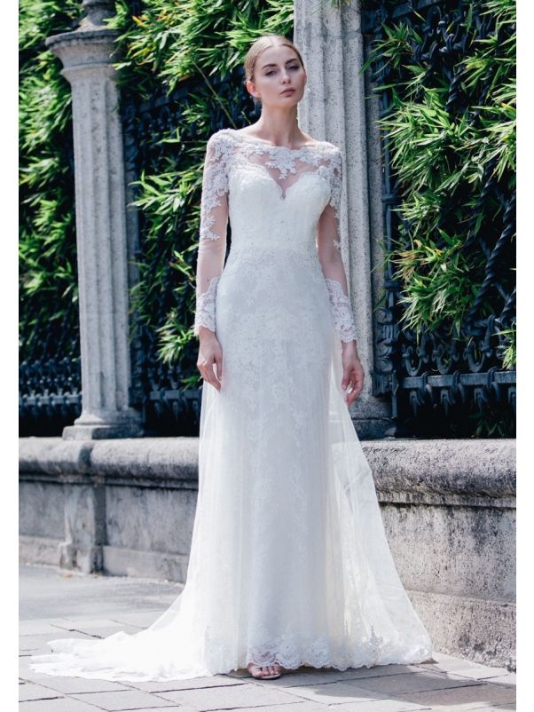 Embroidered Long Sleeves Wedding Dress