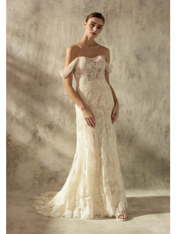 Embroidered Wedding Dress With Built-in Corset