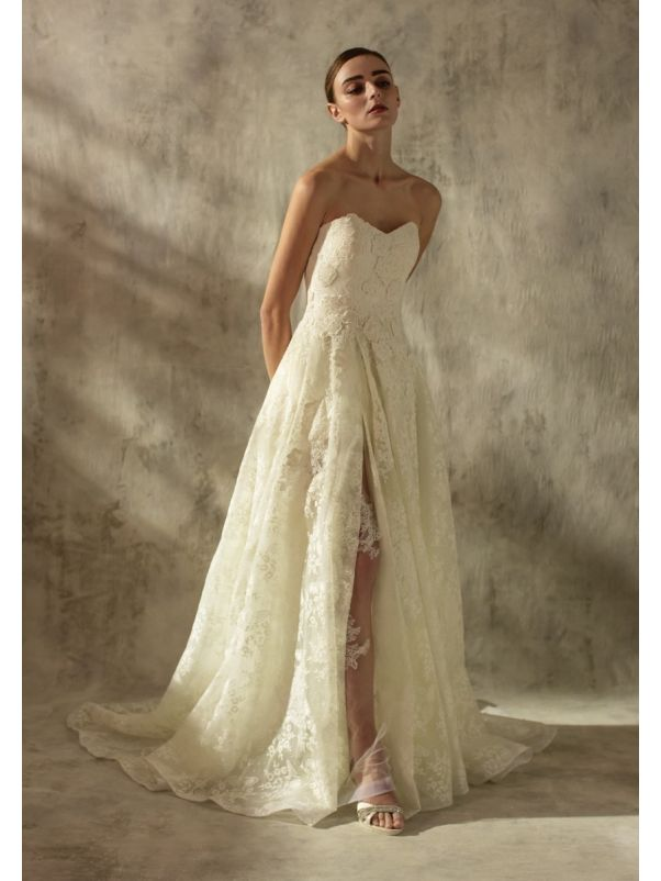 Embroidered Slit Wedding Dress