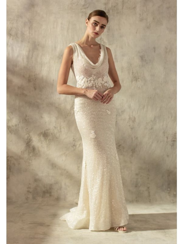 Sequined Wedding Dress With Open Back