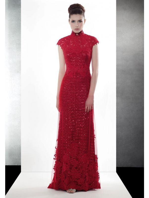 Red Sequined Cheongsam With Keyhole Back