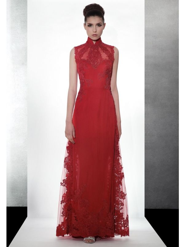Embroidered Red Cheongsam