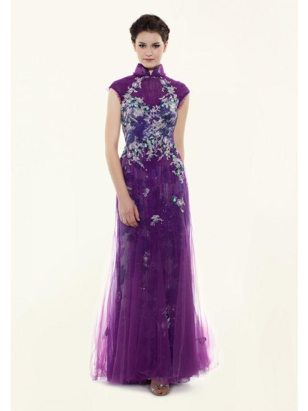 Heavily Beaded Purple Tulle Cheongsam