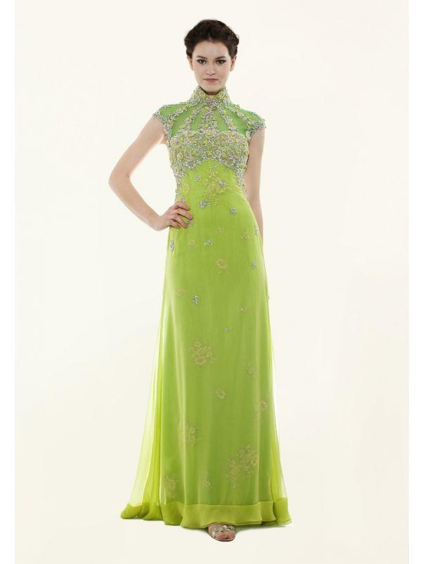 Embellished Green Cheongsam