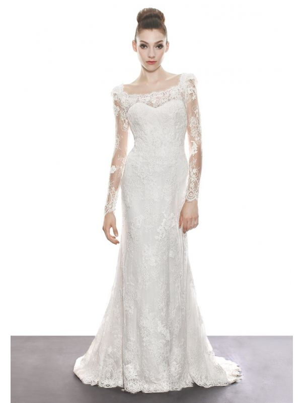 Beaded Lace Wedding Dress With Illusion Sleeves