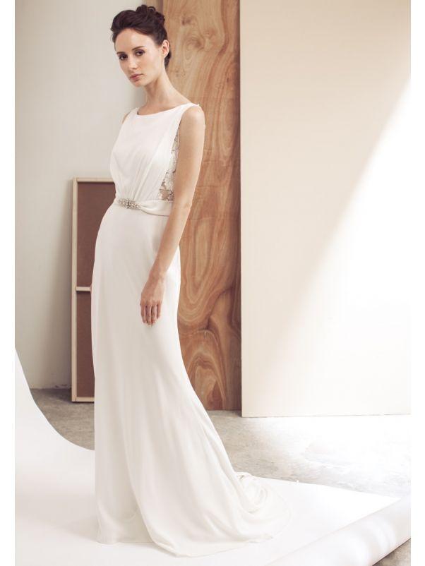 Crepe Wedding Dress With Sheer Back