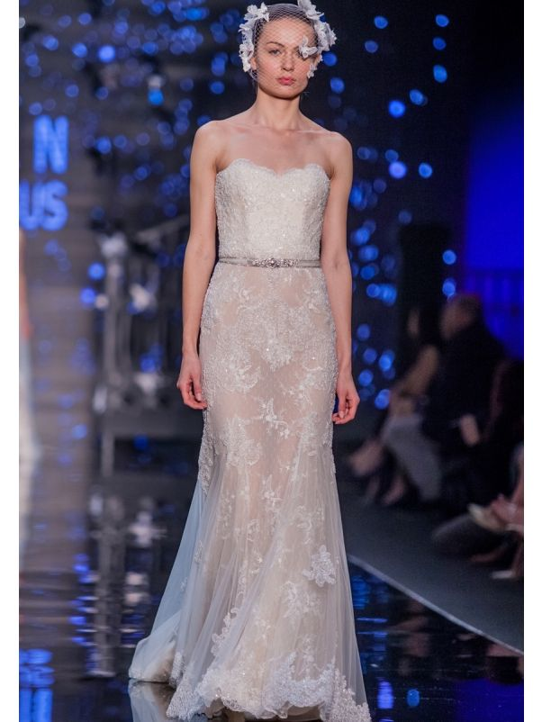 Embroidered Sheer Lace Wedding Dress